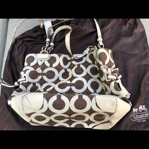 Coach Brown and White Tote